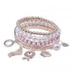 Lureme ton or style de mode perle et pierre opaque ensemble de bracelet pour les filles (06000291-4)