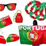 PROMOTION: Kit XXL supporter Portugal (FP-10) Ensemble de 10 pièces: 2 x housses pour rétroviseur , 1 x drapeau pour voiture ,1 x Cap poncho , 1 x Lunettes à grille à trous, 1 x Caxirola, 4 colliers rouge vert évenement sportif coupe du monde fête national accéssoire soirée pays