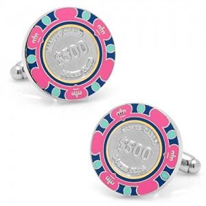 $ 500 boutons de manchette de jeton de poker rose jeu Casino de Monte-Carlo