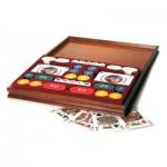 Coffret multijeux en bois : rami, jetons, dés, dés poker