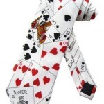 Sock Snob - Cravate Couleur Blanc Motif Jeu Cartes Poker Casino Taille Unique Adulte