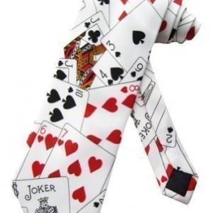 Sock Snob - Cravate Couleur Blanc Motif Jeu Cartes Poker Casino Taille Unique Adulte